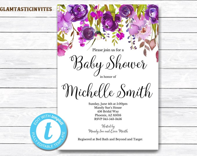 Floral Baby Shower Template, Baby Shower Invitation Template, INSTANT Download, DIY Invitation, Floral Invitation, Baby Shower Invite, DIY