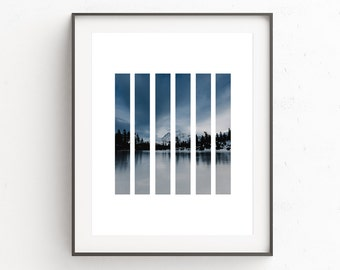 Mountain Photography, Winter Photography,  Blue Wall Art, Instant Download Printable Art, Lake Photography, Blue Print