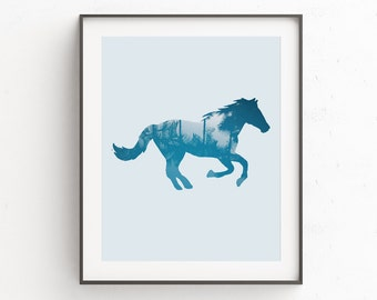Printable Horse Art | Horse Lovers Gift | Minimalist Horse Art