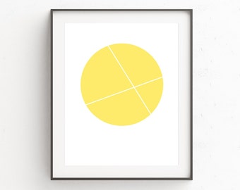 Yellow Wall Poster, Above the Bed Decor, Yellow Decor, Above Crib, 8 x 10 Poster, Scandi Wall Decor, Wall Art Above Bed, Spring Art, Circle