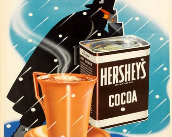 Food Hot Chocolate Cocoa Kitchen Cocoa Ad Vintage Poster Repro FREE SHIPPING in USA