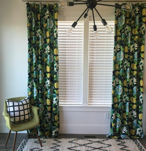 Candance Floral Drapes, Navy Drapes, Floral Window Treatment, Curtains, Window Covering, Flower Print Drapes, Floral Print, Navy Blue