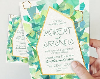 Green Sea-glass Gemstone Printable Invitation