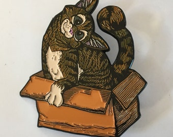 If I Fits I Sits kitty in a box enamel hat pin - LE100 numbered