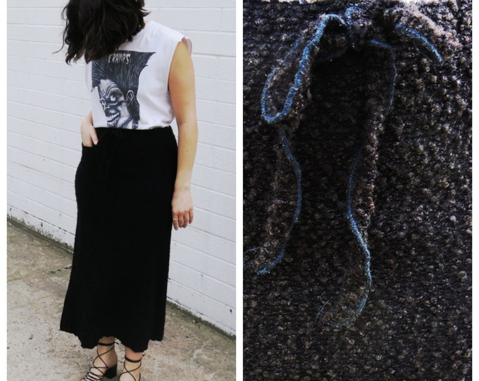 Fuzzy Black Midi Sweater Skirt