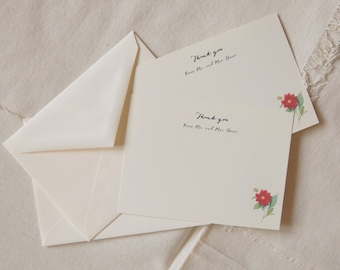 Set of 25 - personalize thank you note - camellia thank you note - budget saving wedding - floral thank you note - camellia wedding - cheap