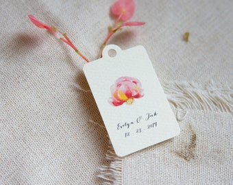 Personalized Gift Tags - Peony favor tag - Wedding favor tag - Shower favor tag - Party tag - Thank you tag - Peony wedding - Floral wedding