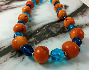 Beaded Necklace. Polymer Clay Beads. Imitated Amber Necklace. Blue and Brown Necklace. Statement Jewelry. Handmade Necklace. Gift for Her