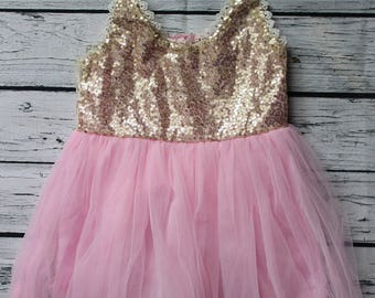 3 Year Old Birthday Girl Dress Sparkling Sequin Tutu Pink and Gold Beautiful Party Dress Family Photo Prop Wedding Birthday Party Dress