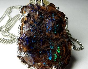 Boulder Koroit Opal Pendant art 3866 | Natural Organic Australian Opal Sterling Silver Necklace Fine Jewelry