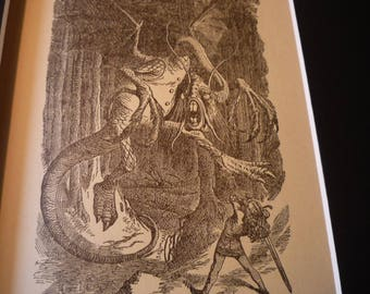 Alice and the Jabberwocky - gift for nursery - framable print - gift for a mighty girl power - Through  the Looking Glass Wonderland