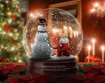 Snowglobe Digital Background ~ Winter Background ~ Holiday Background ~ Christmas Background