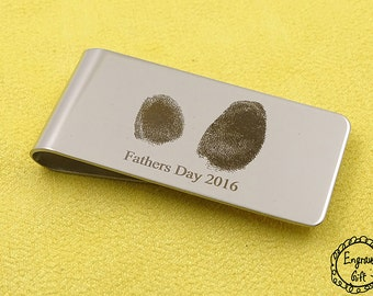 Father Days Real FingerPrint Engrave , Signurate,Drawing Laser, Memorial Script, Text  Engrave Money Clip, Bookmark Stainles Steel