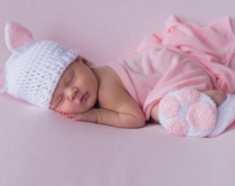 Newborn kitty , newborn cat, newborn cat outfit, newborn photo prop, baby cat costume, kitty costume, infant cat booties, cat hat