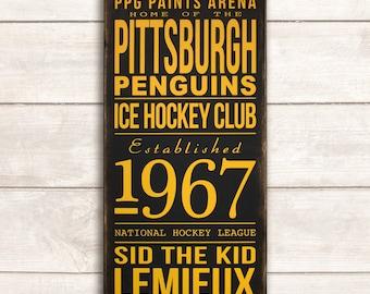 Pittsburgh Penguins Hockey Sign Pittsburgh Penguins Sign Pittsburgh Penguins Wall Art Penguins Hockey Sign Penguins Hockey