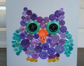 Owl button art canvas 20 x 20 cm personalised colours