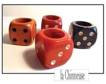 4 dice in BAKELITE / Bakelite Dices / bakelite dice Cubes / 4 1930's bakelite dices.
