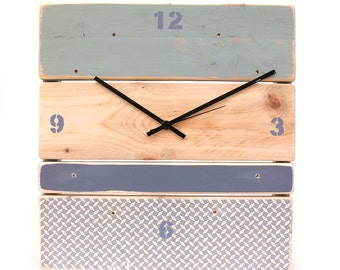 Clock in recycled wood - blue grey and grey-blue