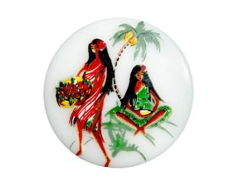 Vintage Hawaii Aloha cameo, Hawaiian Beauties, decal, white glass base - 35 mm round - 2 pcs