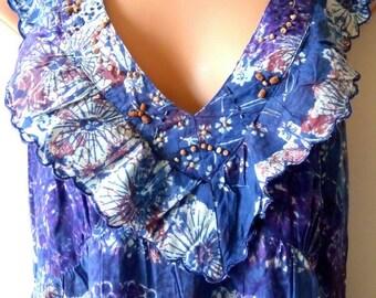 Hippie Boho Clothing Gypsy-Hippie Wedding Dress-Boho Dress-Maxi Dress-Beach Wedding Dress-African Print-Vintage-Tie Dye Dress-Batik-Summer