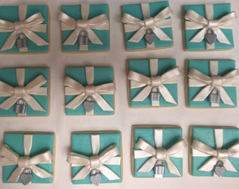 Blue Gift Box Cookies Robin Egg Teal Aqua Baby Shower Bridal Birthday Theme Party Favors Decorations
