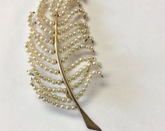 seed pearl feather pin