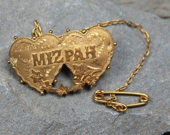Antique Victorian 9CT Gold Mizpah Brooch Pin