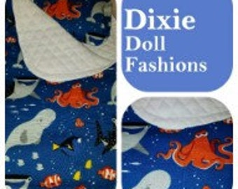 American Handcrafted 18 inch girl Doll Clothes by Dixie ! Under the Sea Sleeping Bag