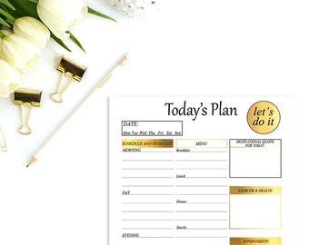 Daily planner, Daily planner printable, A5 planner inserts, Student planner, Day organizer, To do list, Desk planner