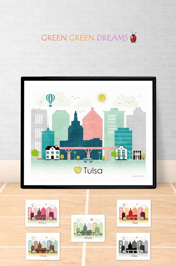 Tulsa poster print wall art printable tulsa oklahoma tulsa for Home decor tulsa