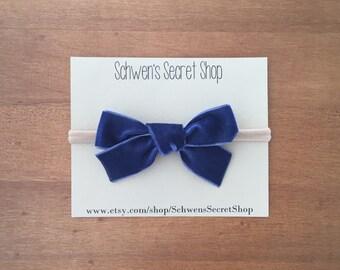 navy velvet bow, baby girl headband, hand tied bow, baby bow headband, nylon headband, school girl bow, baby hair bow, infant headband