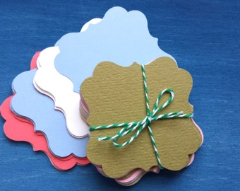 Square Blank Tags, Square Tags, Assorted Colored Tags, Price Tags, Favor Tags, Party Tags, Wedding Tags,  100 pcs