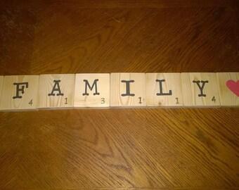 Medium Scrabble Tiles for the wall . Home Decor . Scrabble . Rustic Home Decor . Wood Signs, ORIGINAL - 3 1/2 x 3 1/2 inch