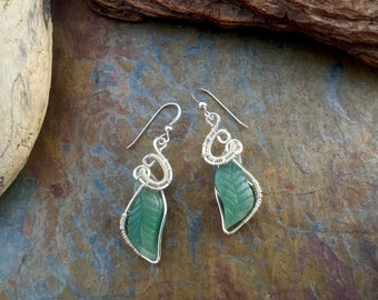 Serpentine - Wire Wrapped Earrings Sterling Silver - Leaf Jewelry Carved Stone New Jade - Wire Weaving Handmade .925 Jewelry Green Crystal