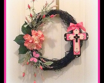 Cross Wreath Pink and Black