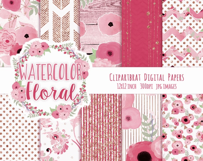 FLORAL WATERCOLOR Digital Paper Pack Pink & Gold Metallic Commercial Use Digital Paper Shabby Chic Wood Arrow Bohemian Wedding Digital Paper