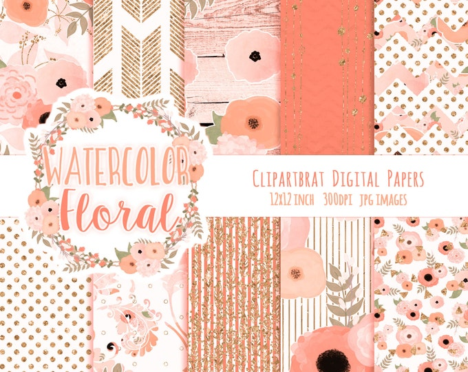 PEACH WATERCOLOR FLORAL Digital Paper Pack Peach & Rose Gold Metallic Commercial Use Digital Paper Wood Arrow Bohemian Wedding Digital Paper
