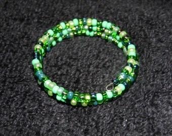 Czech Seed Bead Memory Wire Bracelet