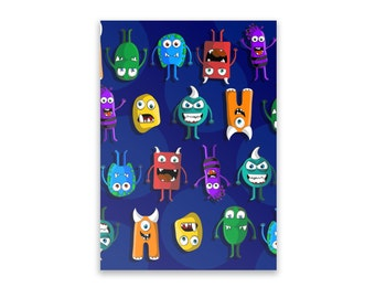 Notepad - Monsters, Boys, Notepad, Stationery, Recycled Paper, Monster, Lined Writing, Little Monsters, Illustration