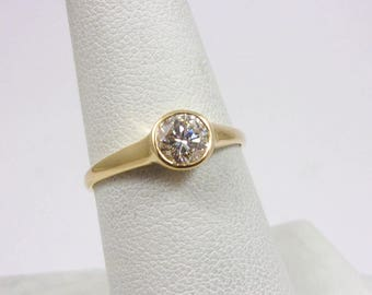 Solid 14K Yellow Gold 0.53 CT Bezel Set Diamond Solitaire Engagement Ring Size 7