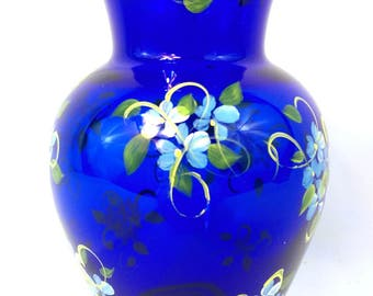 Deep Blue Glass Vase Hand Painted Forget-Me-Not Flowers Cottage Borne Originals