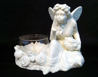 Vintage Partylite Ariana Fairy Blowing Kiss Ivory Bisque Votive Tea Light Candle Holder