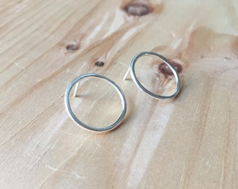 Circle Post Earrings, Small Circle Earrings, Sterling Silver