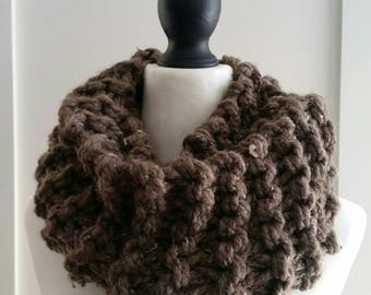 Clare's Outlander Cowl, Sassenach Cowl, infinity scarf, mega chunky, tan hand knitted snood.