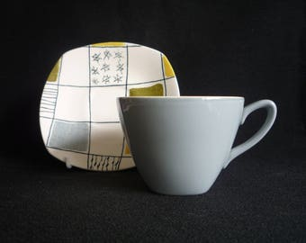 Midwinter 1950's  Chequers Cup and Saucer by Terence Conran