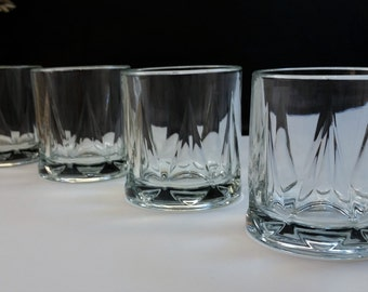 ANCHOR HOCKING LOWBALL Set of 4 Vintage Old Fashioned Glasses Circa 1980's - 1990's On The Rocks Barware A H C 74 Teardrop / Arch Motif