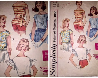 Vintage 1950's SIMPLICITY #3343 Juniors Sz 13 Blouse Shirt Top with Flounce Sleeve