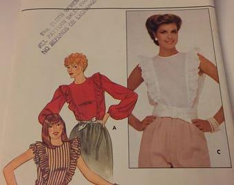 Vintage BUTTERICK #4403 Women's Ruffled Blouse Top sz 6