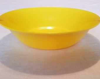 TEXASWARE SERVING BOWL Round Picnic Camping Melmac Melamine Yellow Vintage Retro