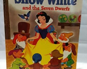 Walt Disney's Snow White and the Seven Dwarfs Golden Book 1974 ~32nd Printing ~Vintage Hardcover Children's Book ~
